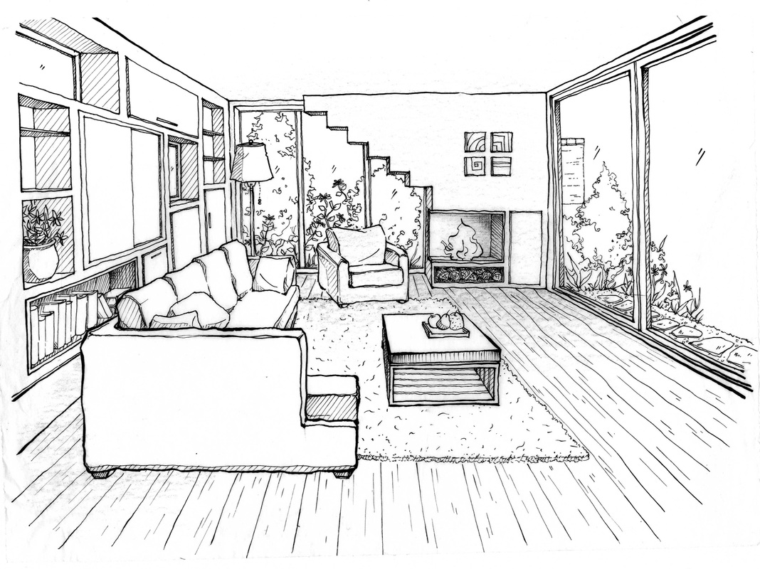 Vt perspektiv for Living room 2 point perspective